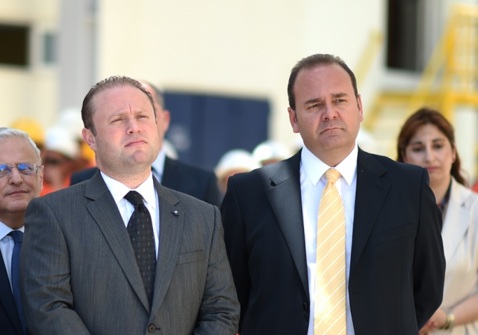 Joseph Muscat and Chris Cardona (right)