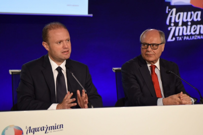 Labour leader Joseph Muscat and finance minister Edward Scicluna (Photo: James Bianchi/MediaToday)