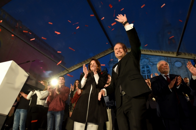 Labour leader Joseph Muscat flanked by his wife, Michelle (Photo: James Bianchi/MediaToday)