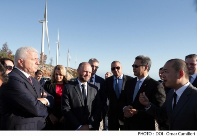Prime minister Joseph Muscat inaugurating the Montenegro wind farm in November last year just before stepping down in a political storm that implicated his chief of staff in Daphne Caruana Galizia's murder