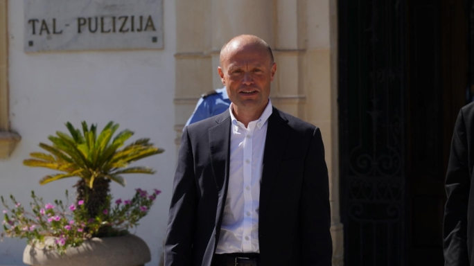 Former PM Joseph Muscat exiting police headquarters (Photo: James Bianchi/MaltaToday)