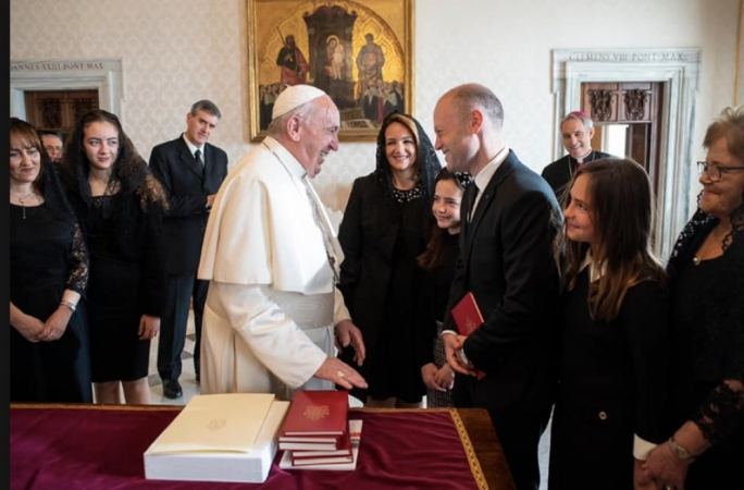 Amid his troubles back home, Muscat travels to Rome to meet Pope