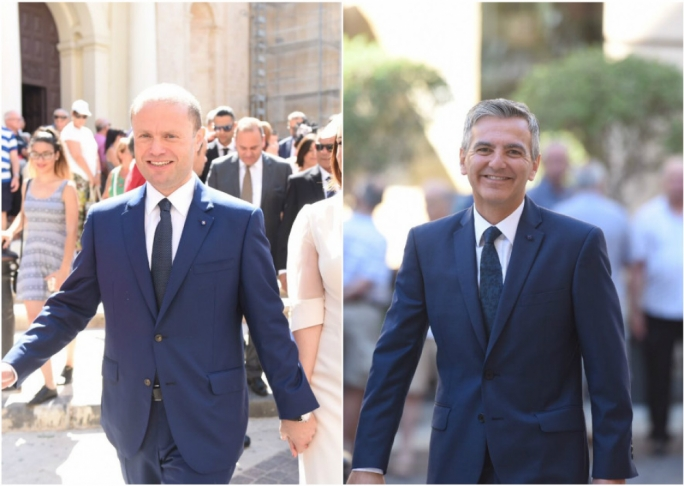 Nothing safer than blue: Prime Minister Joseph Muscat and Opposition leader Simon Busuttil stick to their favourite colour