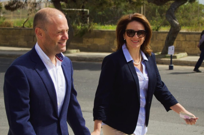 Joseph Muscat and his spouse Michelle arriving at the Burmarrad polling station. Photos: James Bianchi