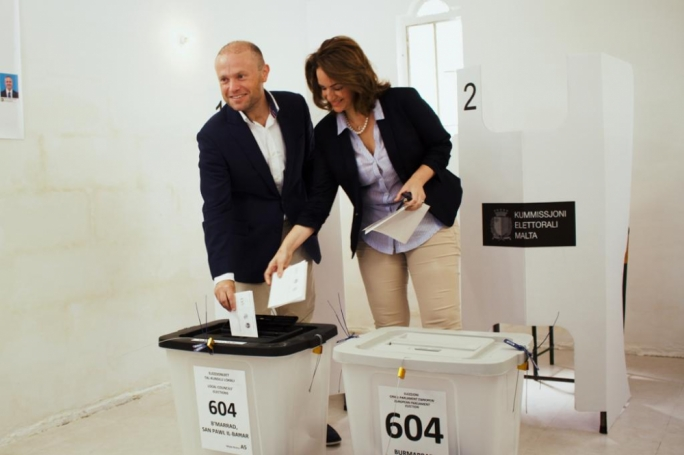 Joseph Muscat and his spouse Michelle casting their vote