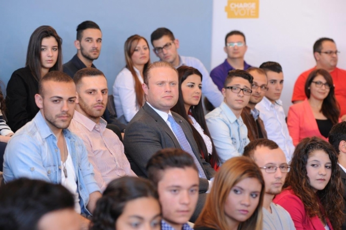 Labour leader Joseph Muscat at an event organised by the Labour Youth Forum