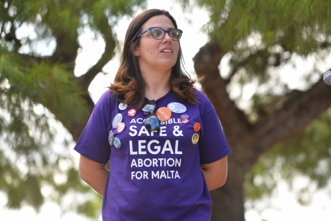 Academic Andrea Dibben, took centre-stage as she convened Malta's first pro-choice rally, together with lawyer Lara Dimitrijevic