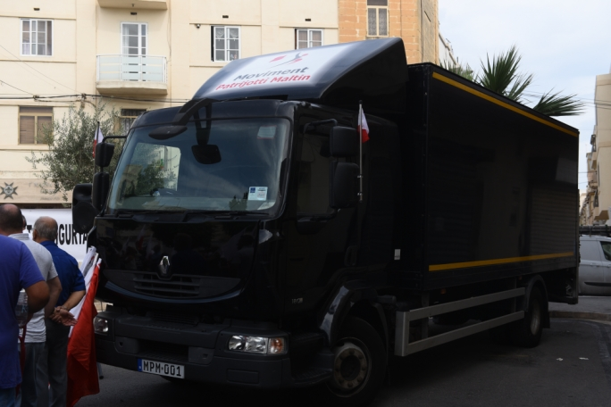 The truck bought by donations and billed as the 'truck of Malta's new independence'