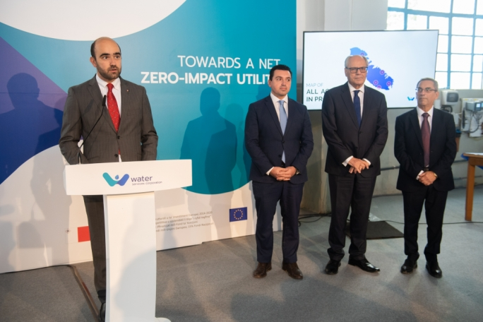 WSC CEO Richard Bilocca (left) and Parliamentary Secretary Aaron Farrugia, Finance Minister Edward Scicluna and Energy Minister Joe Mizzi