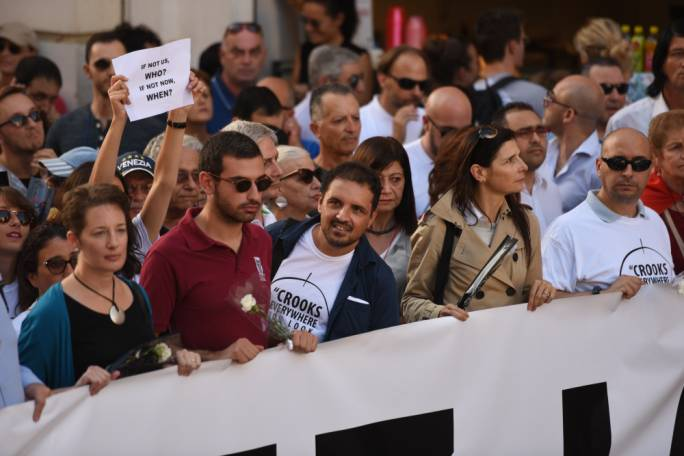PN councillor Michael Briguglio led the demonstration of the Civil Society Network