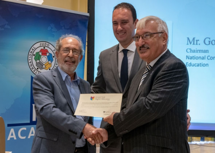 From left to right: Godfrey Vella, chairman of NCFHE, Clifton Grima, sports parliamentary secretary, and the IJF academy director Envic Galea