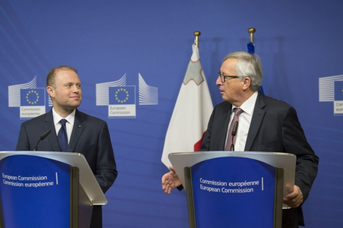 Joseph Muscat (left) with European Commission president Jean-Claude Juncker