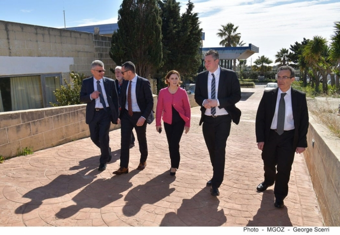 Gozo Minister Justyne Caruana and Tourism Minister Konrad Mizzi visited the heliport in Xewkija