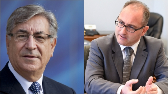 EU environment commissioner Karmenu Vella (Left) and junior hunting minister Roderick Galdes (Right)