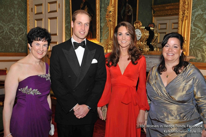 Photo: Duke and Duchess of Cambridge with the 100WHF Board Chair, Anne Popkin and 100WHF CEO, Amanda Pullinger. As Patron of 100 Women in Hedge Funds' philanthropic initiatives, Prince William opened a gala dinner in The UK and praised the organisation for its business acumen and for the funds raised by the organisation for numerous charities.