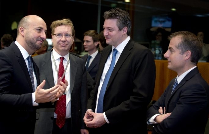 Konrad Mizzi (second from right) at a 5 March, 2015 meeting of energy ministers, seen here with Luxembourgish counterpart Etienne Schneider (left) and right, Malta's deputy permanent representative to the EU, Neil Kerr