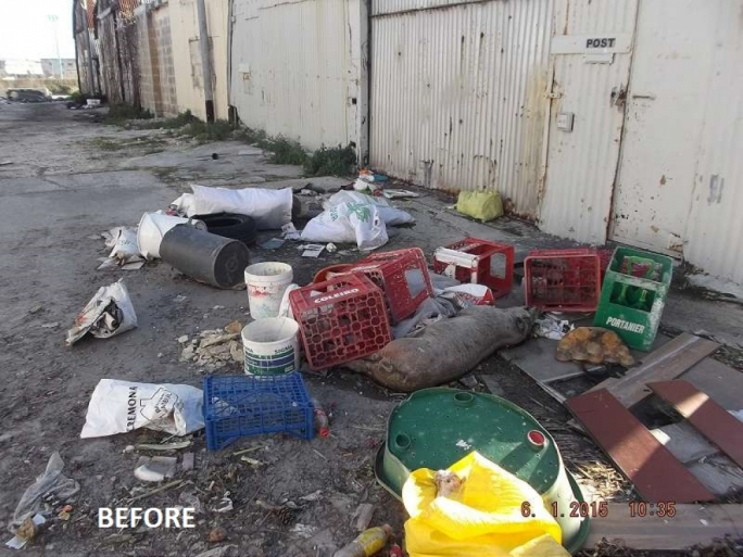 Photo by Cleansing Services Directorate, showing a cleanup that took place at Kordin industrial area