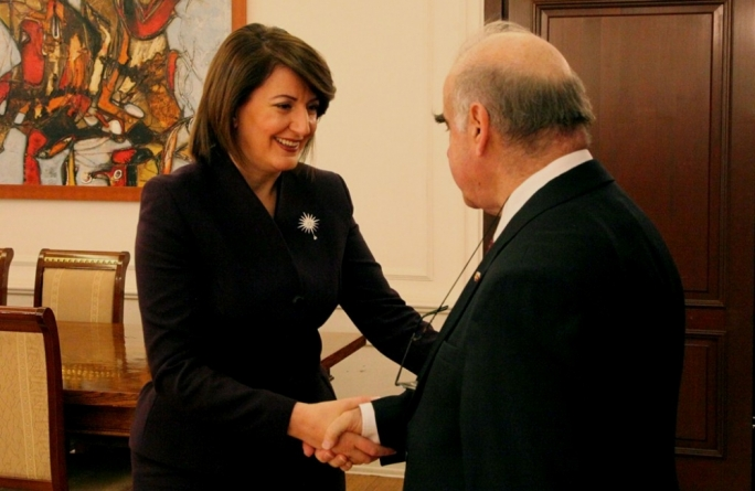 Kosovo President Atifete Jahjaga welcoming Foreign Affairs Minister George Vella