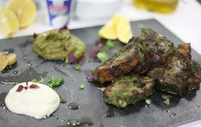 [WATCH] Lamb T-bones with smokey aubergine puree and Benna yoghurt dipping sauce