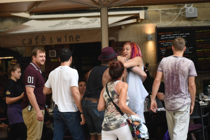 Lana Wachowski greets fellow cast members from Sense8. Photo: Chris Mangion