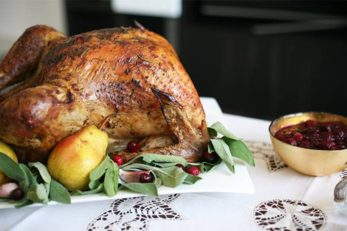 Dry-brined roast turkey