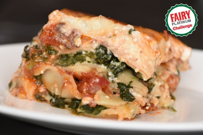 Meaty, spinach lasagne