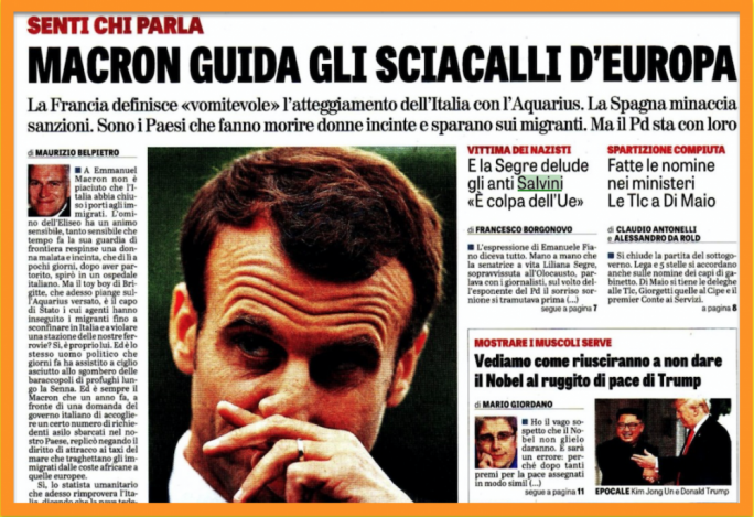 'Look who's talking. Macron leads Europe's jackals': the Berlusconi-aligned newspaper takes aim