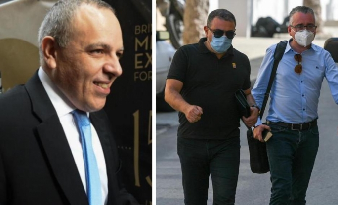Keith Schembri (left) was arrested at his Mellieħa home. His lawyers Edward Gatt and Mark Vassallo were seen entering the police depot on Tuesday afternoon.