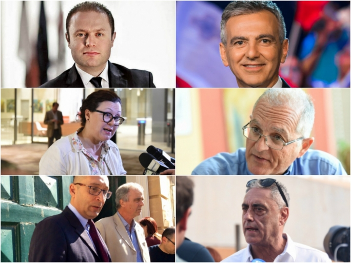 Joseph Muscat, Simon Busuttil, Marlene Farrugia, Arnold Cassola, Ivan Grech Mintoff (who bowed out at the last minute)and Henry Battistino