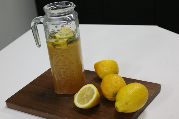 Homemade lemonade with kaffir lime