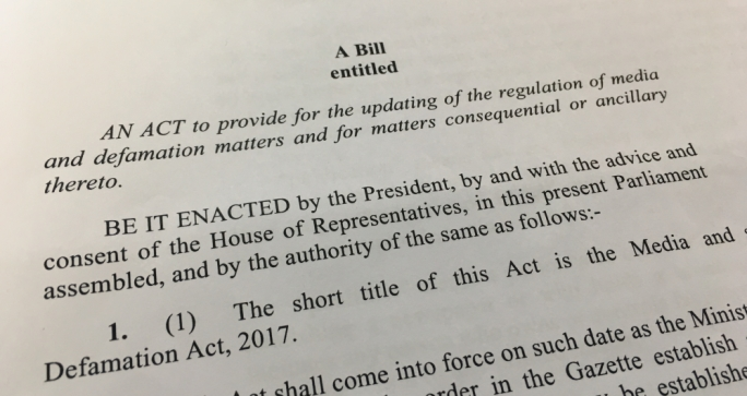 A new Media and Defamation Bill was issued earlier last week