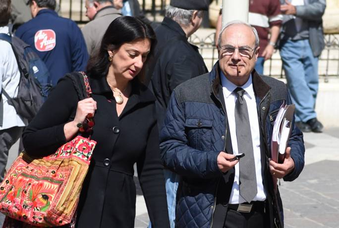 Daphne Caruana Galizia leaving the law courts with lawyer Edward Zammit Maempel