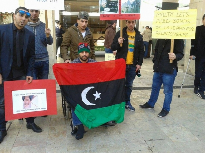 Demonstrators protest against the latest air strikes on Misrata
