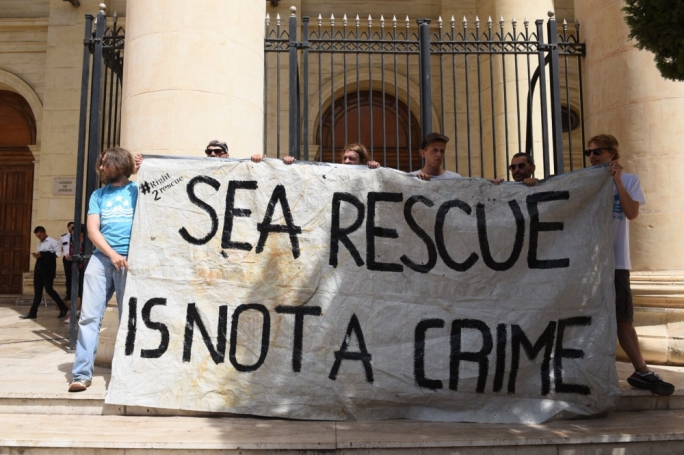 Lifeline activists protesting in front of the law courts in Malta (Photo: James Bianchi/MediaToday)