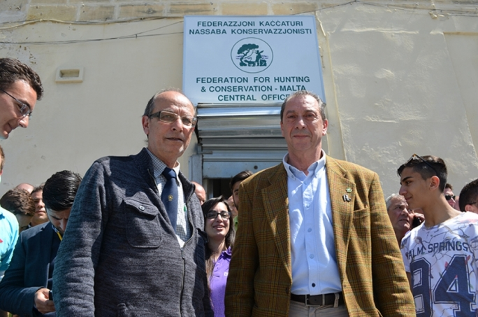 Masters of the hunt: FKNK chief executive Lino Farrugia and president Joe Perici Calascione at the Msida offices of the hunting lobby. Photo: John Pisani