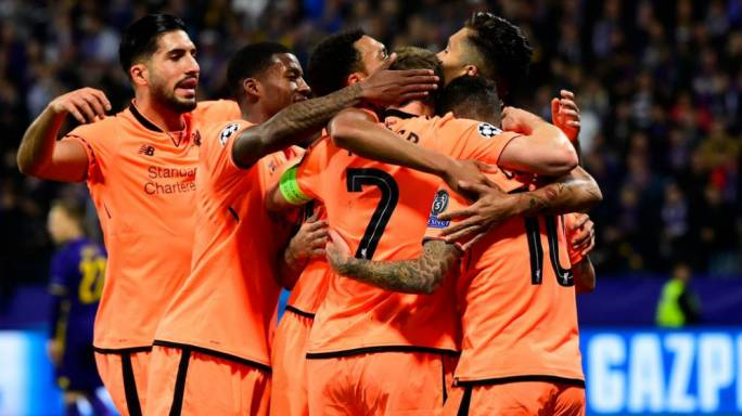 Liverpool's players celebrating