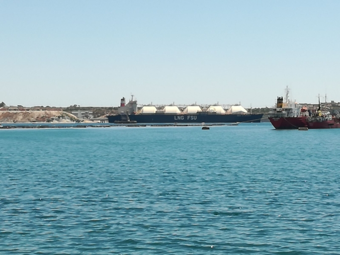 The LNG tanker moored off Birzebbugia