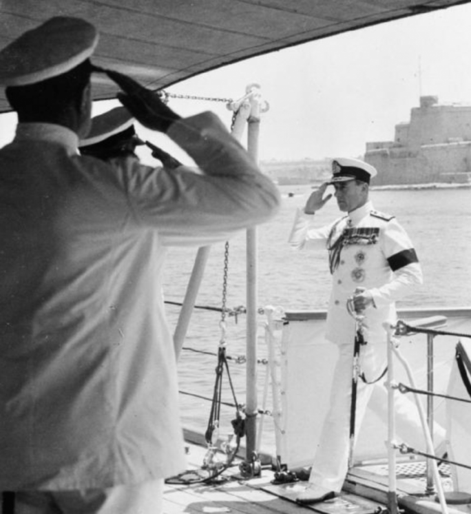 Lord Mountbatten in Malta in 1952