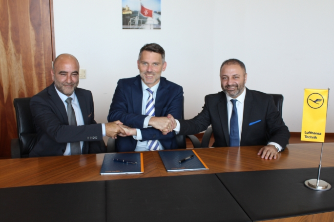 From left to right: Karl Azzopardi, MIP CEO, Marcus Motschenbacher, Lufthansa Technik CEO, and Kurt Farrugia, Malta Enterprise CEO