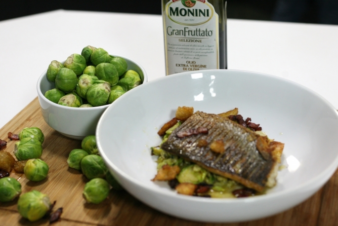 Mackerel with split peas, Brussels sprouts, mint and bacon