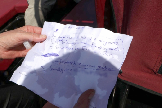 'Please tell my family I am alive' – one of the Etienne migrants' message in a bottle. Photo: Karl Azzopardi/Mediatoday