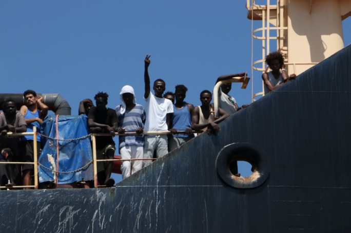 'All we do is look at the sea', say desperate migrants board the Maersk Etienne. Photo: Karl Azzopardi/Mediatoday