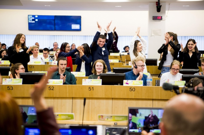 Victory! Students Shanise Calleja (second from left), Riane Demicoli and Neil Farrugia celebrate the winning proposal