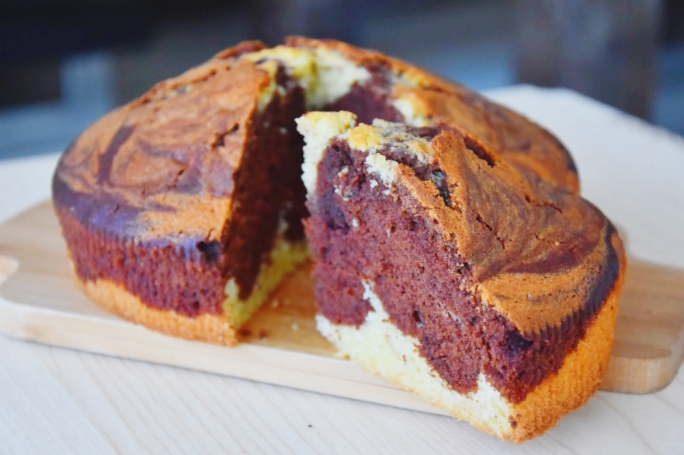 Fluffy chocolate and vanilla marble cake