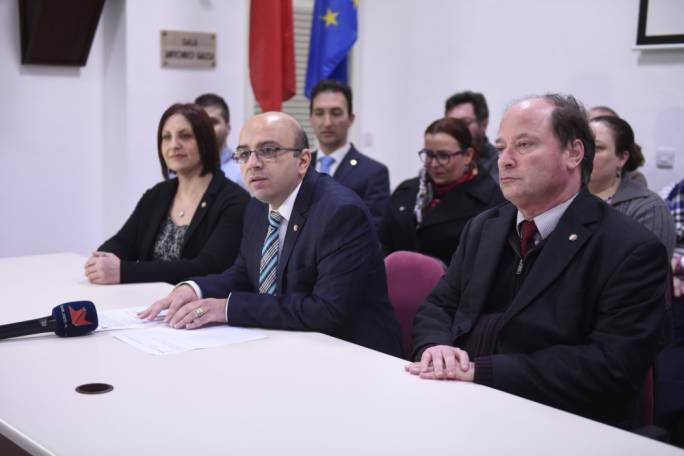 MUT president Marco Bonnici (centre) with council members behind him