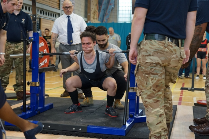 Maria Debono in the hole with a 107.5kg squat