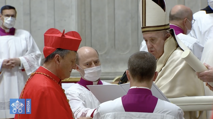 Bishop becomes Cardinal: Mario Grech kneels before Pope Francis