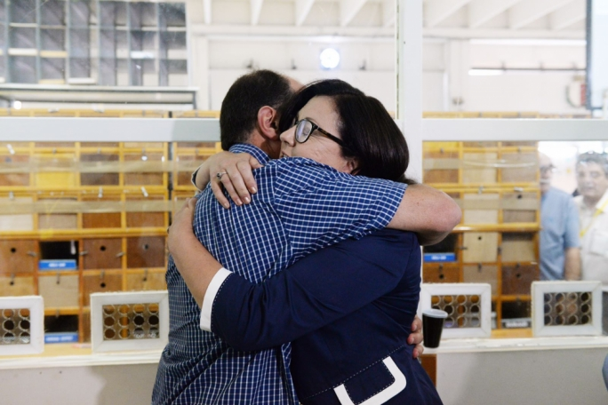 PD leader Marlene Farrugia congratulating candidate and partner Godfrey Farrugia. Photo: James Bianchi/MediaToday