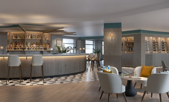 An artist's impression of how the bar area in the new Marriott hotel will look once refurbishment works are complete