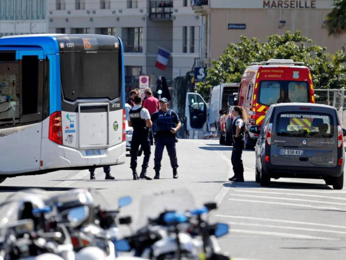 French police secure the area in the port city of Marseille